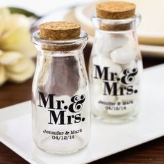 Personalized Mr. & Mrs. Vintage Milk Jars