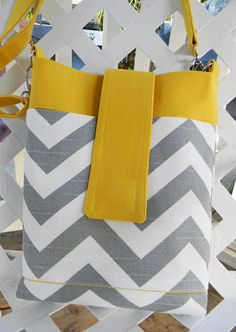 Gray Chevron Hipster bag on Etsy, $39.00