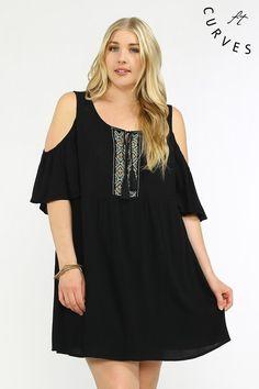 Black Open Shoulder Dress