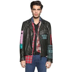 Diesel Men Leather Biker Jacket W/ Patches & Studs (14,540 MXN) ❤ liked on Polyvore featuring men's fashion, men's clothing, men's outerwear, men's jackets, black, mens leather motorcycle jackets, mens motorcycle jacket, mens zipper jacket, mens leather jackets and mens jackets