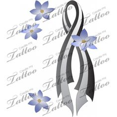 Brain Cancer Tattoo Ribbon With Flowers Larger Createmytattoo