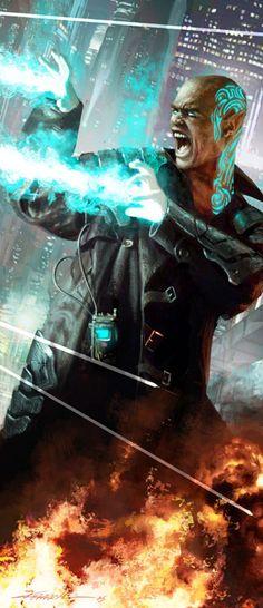 Combat Mage (2005) Michael Komarck Illustration Interior Illustration for the Shadowrun Fourth Edition sourcebook