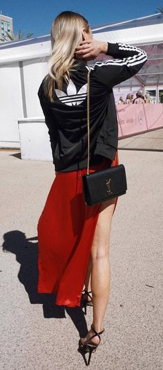 fashion trends / adidas cardigan bag heels maxi skirt