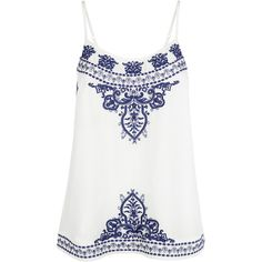 Monsoon Aphrodite Ivy Embroidered Cami Top (€37) ❤ liked on Polyvore featuring tops, shirts, tank tops, tanks, blusas, white singlet, loose white tank, loose fit tank tops, loose white tank top and cami tank tops
