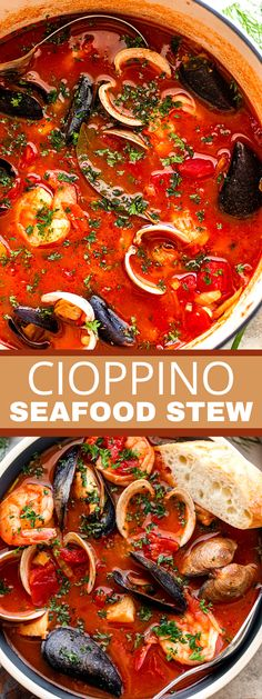 This delicoius Cioppino is a medley of clams, mussels, shrimp, and cod that balance beautifully in a savory tomato broth. Seafood stew that is a unique Italian-American specialty that'll leave you wanting more! #cioppino #seafood #seafoodstew Best Seafood Recipes, Lobster Recipes, Shellfish Recipes, Crab Recipes, Chowder Recipes, Easy Soup Recipes, Dinner Recipes, Vegan Recipes, Seafood Stew