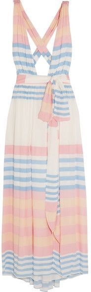 Mara Hoffman - Striped Crinkled-voile Maxi Dress - Pastel pink