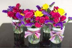Ribbon and Roses Mason Jar Centerpieces | A DIY centerpiece any bride can master.