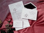 Burgundy Colored Roses and Doves Tri-Fold Wedding Invitations