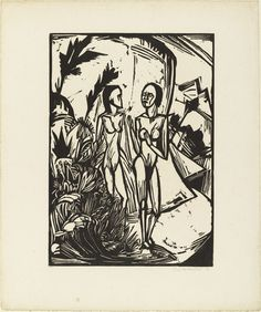 Erich Heckel (German, 1883–1970) Women on the Beach (Frauen am Strand) from the portfolio Eleven Woodcuts, 1912-1919 (Elf Holzschnitte, 1912-1919)  Date:1919 (published 1921) Medium:Woodcut
