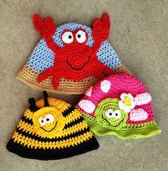 Beachy Sunhats for the family. Crochet pattern by Snappy Tots. #crochetsunhats #tothebeach