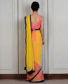 Yellow Pink Panelled Sari