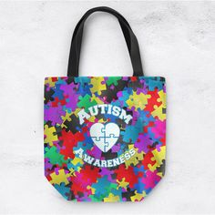 Autism Awareness Tote Bag Can Be Personalized Autism Awareness Bag... ($29) ❤ liked on Polyvore featuring home, home decor, small item storage, black, decorative pillows, home & living, home décor, canvas tote bags, personalized totes and black tote bag