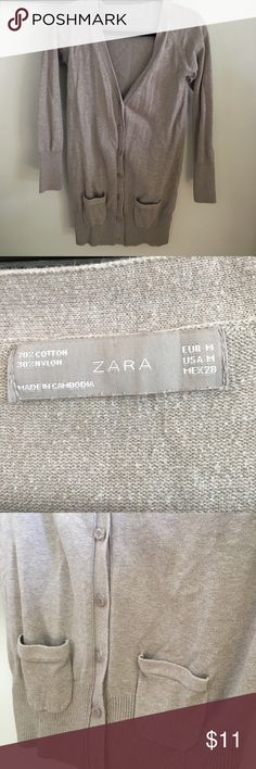 Zara Pocketed Cardigan This long Cardigan is great for casual wear or work wear. It has two pockets and a flattering ribbed bottom. Perfect for fall! It has all buttons, and no snags or rips. Zara Sweaters Cardigans