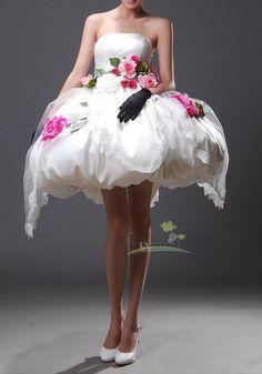 Fairy/wedding gown/women clothing/bridal dress/prom dress/short/bubble bottom/flowers/custom made/ALL SIZE. $220.00, via Etsy.