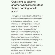 Questions to ask eachother when it seems that there's nothing to talk about Journal Prompts, Writing Prompts, Writing Tips, Conversation Topics, Conversation Starters, Getting To Know Someone, Les Sentiments, New Energy, Pretty Words