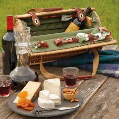 Wine and Cheese Basket Cheese Baskets, Wine Carrier, Wine Education, Gifts For Wine Lovers, Summer Picnic, Bottle Stoppers, Wooden Handles, Wines, Cheese Knife