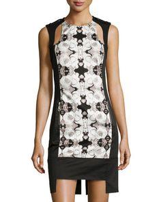Rose Photo-Print Cutout Dress, White/Black by L.A.M.B. at Neiman Marcus Last Call.