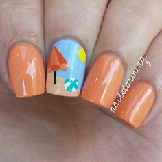 "Instagram media by nailstorming - Beach scene :) the orange is two coats of ""If In Doubt, Surf It Out"" from China Glaze's Off Shore Collection! - - Products used: Orange: ""If In Doubt, Surf It Out"" China Glaze Blue: ""Bikini So Teeny"" Essie All details: Acrylic Paint (Regular craft paint. Yes, you could use polish. I prefer acrylic paint because it dries faster, is cheaper, doesn't smell and is much easier to work with.) Top coat: HK girl @glistenandglow1"