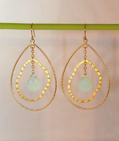 Aqua Chalcedony Gold Double Abstract Chandelier Chain Earring - Mothers Day Gift - Bridal Jewelry