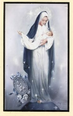 Hail Holy Queen Prayer Holy Card - Mary Mother of Mercy
