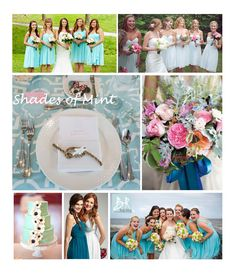 Color Inspiration: New shades of combinations including Spearmint, Victorian Jade, Hint of Mint, and Gulf Stream #wedding #color #bridesmaids