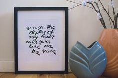 You see PRINT by MelindaKingsland on Etsy typography, hand lettering, brush, ink You And I, Love You, Hand Lettering, Typography, Ink, Create, Unique Jewelry, Handmade Gifts, Etsy