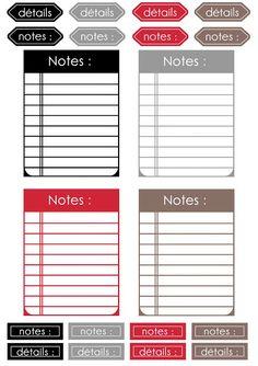 FREE Notes DIGITAL SCRAP : Étiquettes à imprimer :