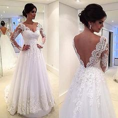 Sexy Backless Wedding Dress Appliques Bridal Gown Size 2 4 6 8 10 12 14+ Custom