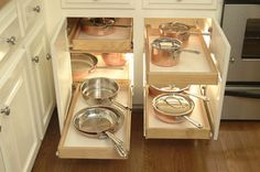 Invaluable for all your heavy pots and pans. Kitchen Cabinets upgrade to Glide-Outs - contemporary - kitchen - detroit - Al Williams Kitchen Cabinets Upgrade, Kitchen Cabinet Drawers, Kitchen Shelves, Kitchen Pantry, New Kitchen, Cabinet Storage, Cabinet Organizers, Cabinet Ideas, Kitchen Corner