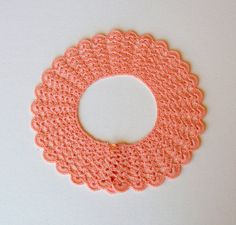 Vintage Pink Crochet Collar Hand Made Cotton 1950's