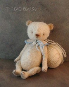 """Unique 5"""" Wool Artist Bear Antique - Vintage Style Teddy by Thread Bears®"""