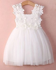 Lace Tutu Flower Girl Dresses in White and Pink Perfect for weddings, birthday parties, photoshoots, baptism.