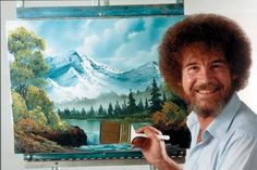 """""""Joy of Painting.""""  Bob Ross with a completed painting.  Ross served 20 years in the U.S. Air Force, reaching the rank of Master Sergeant."""