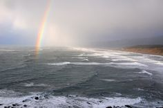 Wednesday January 9, 2013 — Trinidad, CA (Current Weather Conditions)  A brief rainbow lit up between squalls over Agate Beach in Patrick's Point State Park.