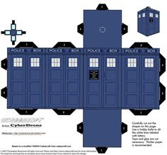 Printable TARDIS. Xmas ornaments, here I come...only, needs glitter.