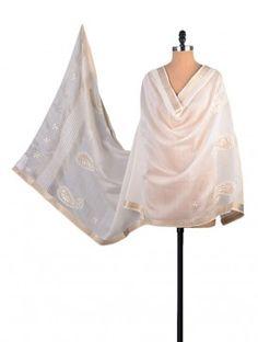 White Chanderi Phool Patti Chikankari Dupatta