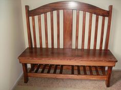 Repurposed crib into bench...my dad made this out of our old crib:)