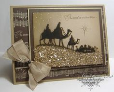 Glittery Gold & Brown Christmas Card...