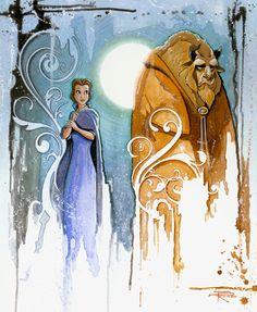 Disney Underground Beauty & the Beast Curse Canvas Giclee- Beautiful Disney Pixar, Film Disney, Arte Disney, Disney And Dreamworks, Disney Animation, Disney Love, Disney Magic, Disney Stuff, Beauty And The Beast Artwork