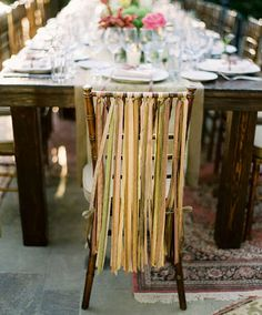 tea dyed ribbons on chiavari chairs....i die <3