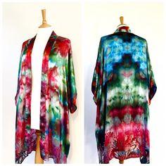 A Meiji Designs hand dyed bespoke Kimona-Kimono, with devoré detail.