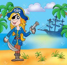 Mujer pirata en la playa. Al fondo se ve el barco.