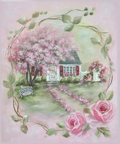 Vintage rose paintings, romantic rose paintings by artist Jo-Anne Coletti