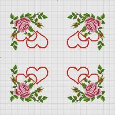 CURIOSA CORUJA PONTO CRUZ: Gráfico Ponto Cruz - rosa e coração