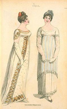 London Dresses, June Fashions of London & Paris by ashleyw 1800s Fashion, Ethnic Fashion, Fashion Art, Vintage Fashion, Regency Dress, Regency Era, Vintage Costumes, Vintage Outfits, Pride & Prejudice Movie