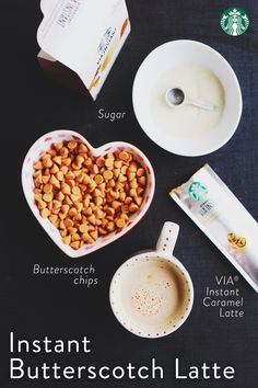 Instant Starbucks Butterscotch Latte: Pour 1 packet VIA Instant Caramel Latte, 3 tablespoons butterscotch baking chips, and 1 teaspoon sugar into a mug. Heat 1 cup milk and pour on top. Stir and enjoy! Yummy Treats, Sweet Treats, Yummy Food, Caramel Latte, Baked Chips, Starbucks Drinks, Coffee Recipes, Cooking Recipes, Cat Recipes