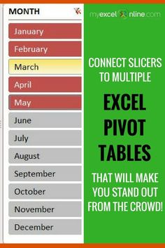 How to Connect Slicers to Multiple Excel Pivot Tables that will wow your boss!   Learn Microsoft Excel Tips + Free Excel Tutorials & Cheat Sheets   The Most In-Depth Excel Video Courses Online at http://myexcelonline.thinkific.com/
