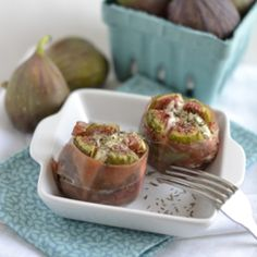 Goat Cheese Stuffed Figs Wrapped in Prosciutto.