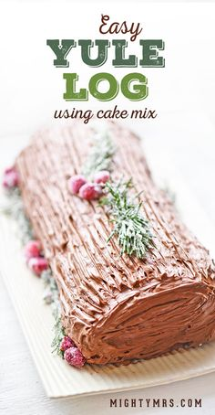 Easy Yule Log using cake mix! This cake recipe is super easy to follow, even if it's you're first time ever rolling a cake. This Swiss roll dessert is the perfect addition to your holiday table. Make it a Christmas tradition! #yulelog #christmasdessert