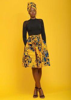 Skirts - Amsa African Print Midi Skirt With Sash (Yellow/Blue)